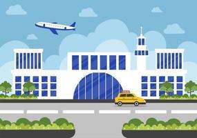 edifício terminal de aeroporto com infográfico decolando vetor