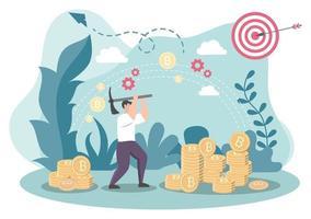 design plano de ilustração de criptomoeda com empresários mineiros e moedas