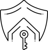 ícone de linha para seguro de vida hipotecário vetor
