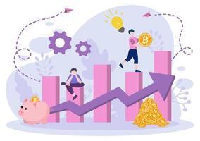 design plano de ilustração de criptomoeda com empresário