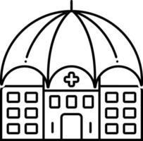 ícone de linha para seguro de responsabilidade civil hospitalar vetor