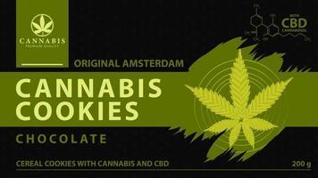 biscoitos cannabis, capa preta e verde para loja de cannabis com folha de maconha digital no estilo low poly. vetor