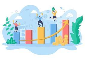 ilustração de criptomoeda design plano com empresários