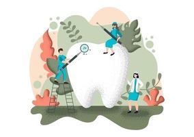 ilustração em cor plana para consultório odontológico vetor
