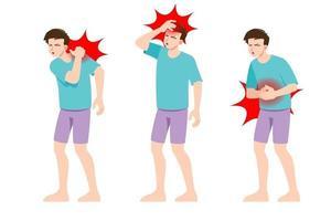 conjunto de homem sentindo dor em diferentes partes do corpo. pessoas com enxaqueca no pescoço e dores de cabeça, nas costas e nas zonas de dor de estômago.
