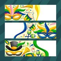 rio festival brasil com banner máscara vetor