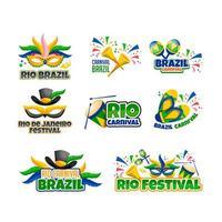 conjunto de adesivos do rio festival brasil vetor