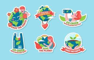 adesivo fofo de conscientização do Dia da Terra vetor