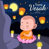 feliz celebração do dia de vesak vetor