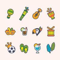 conjunto de ícone de desenho animado do festival rio vetor
