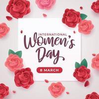 saudação do dia internacional da mulher com rosa vetor