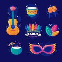 ícone conjunto de carnaval brasileiro vetor