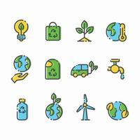 conjunto de ícone de ecologia do dia da terra vetor