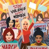 pare a violência contra o conceito de protesto de mulheres vetor