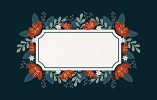 modelo de cartão com moldura de flor vetor