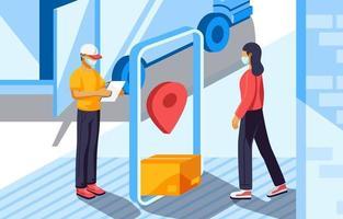 pacote de entrega sem contato vetor