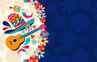 sombrero e guitarra com enfeite de flor vetor