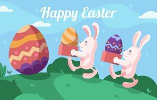 coelho do dia da páscoa coletando ovos