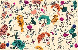 conjunto de rosto de mulher com planta abstrata vetor