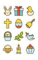 conjunto de ícones de feliz páscoa vetor