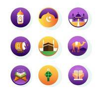 coleção de ícones eid mubarak vetor