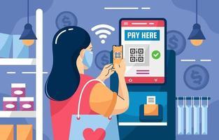 pagamentos sem contato sem contato no supermercado vetor