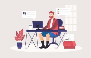 um homem trabalha em casa usando um computador vetor