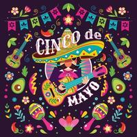 conceito cinco de mayo mexicano mariachi vetor