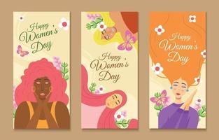 feliz dia da mulher coleção de banners vetor