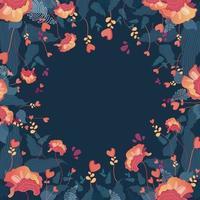 lindo fundo floral com flor vermelha vetor