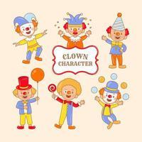 grupo de palhaço sorridente com roupas coloridas vetor