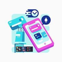 compras digitais móveis com conceito de cartão inteligente vetor