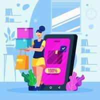 mulher segurando sacolas de compras fazendo compras online vetor