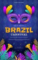 pôster do carnaval rio com conceito de máscara vetor