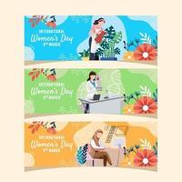 banner de múltiplas atividades de rotina do dia da mulher vetor
