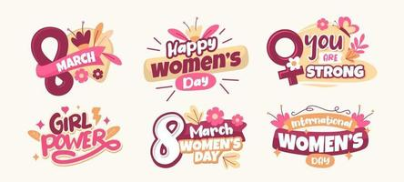 coleção de adesivos do dia das mulheres vetor