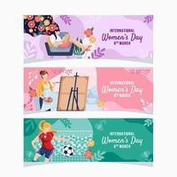 conjunto de faixas de várias profissões do dia da mulher vetor