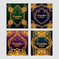 conceito de cartão de ramadã com ornamentos de ouro vetor