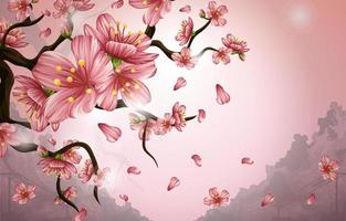 fundo de flores de cerejeira vetor