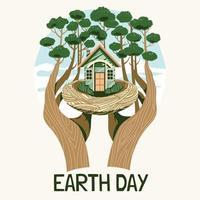 humanos cuidam do conceito de terra vetor