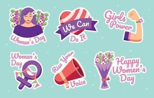 coleção de adesivos do dia da mulher vetor