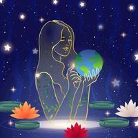 conceito da mãe da natureza do dia da terra vetor