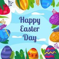 fundo de ovos do dia de páscoa vetor