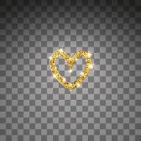 coração de vetor de glitter dourados. brilho dourado st. cartão de dia dos namorados. elemento de design de luxo. fundo de partículas âmbar.