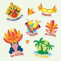 pacote de adesivos do rio festival vetor