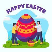 dia de páscoa pintando ovo vetor