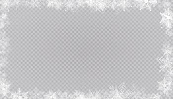 borda de quadro de neve de inverno retangular com fundo de estrelas, brilhos e flocos de neve. banner festivo de Natal, cartão de ano novo, cartão postal ou ilustração vetorial de convite