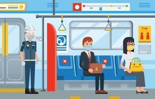 aplicando novo protocolo normal em trem público vetor