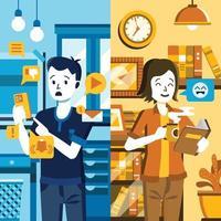 comparação fomo vs jomo em notificações e livro de leitura vetor