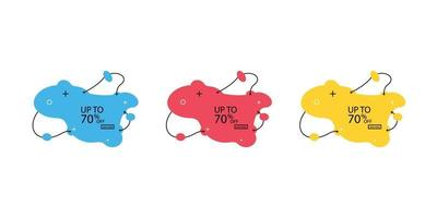 banner na moda de bolhas líquidas. conjunto de banners de venda com formas da moda. banners de desconto de vetor